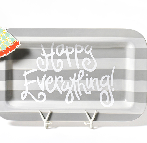 Happy Everything Stone Stripe Mini Entertaining Platter