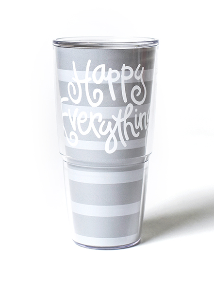 Happy Everything Stone Stripe Tervis Tumbler