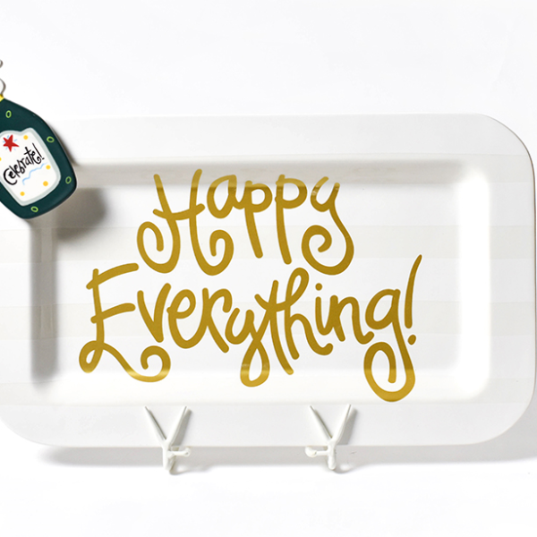 Happy Everything White Stripe Mini Entertaining Platter
