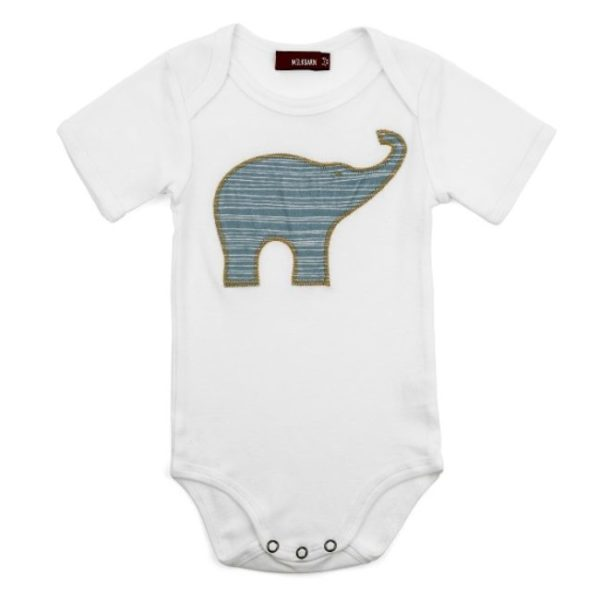 Milkbarn Blue Elephant Applique One Piece