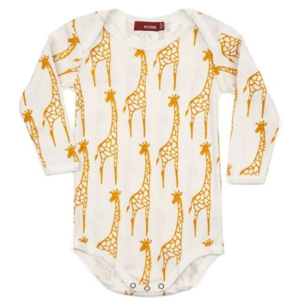 Milkbarn Yellow Giraffe Long Sleeve One Piece