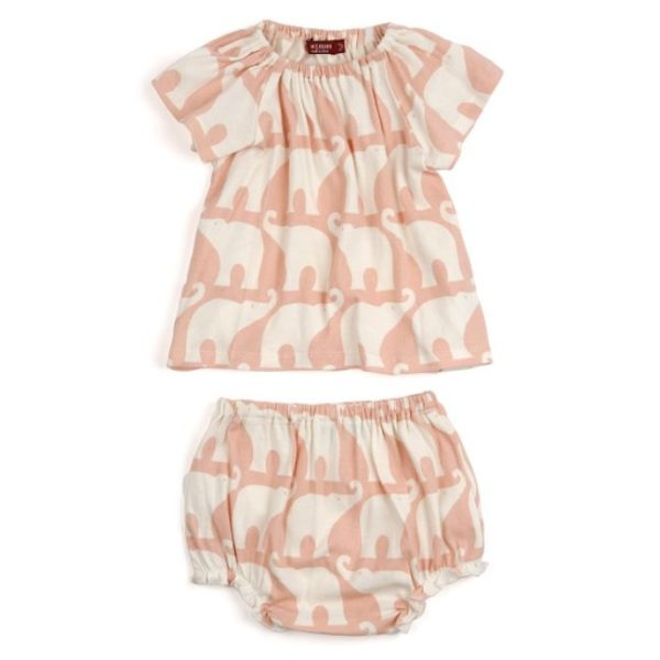 Milkbarn Rose Elephant Organic Dress & Bloomer Set