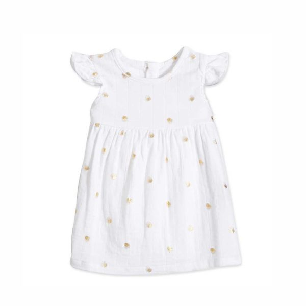 Aden + Anais Metallic Gold Water Dot Dress