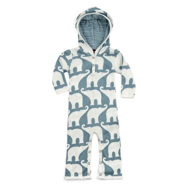 Milkbarn Blue Elephant Hooded Romper