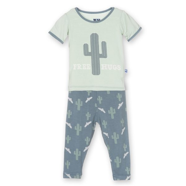 Kickee Pants Dusty Sky Cactus Pajama Set