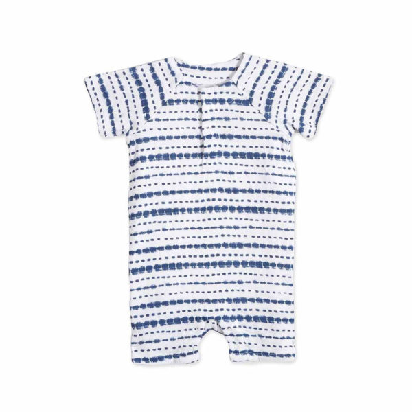 Aden + Anais Stripe Indigo Shibori Short Sleeve One-Piece