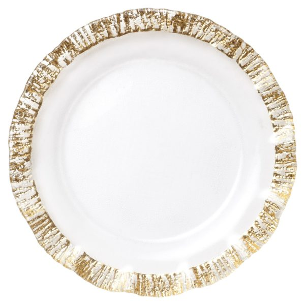 Vietri Rufolo Gold Ruffle Glass Charger