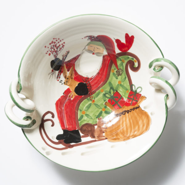 Vietri Old St. Nick Scallop Handled Bowl W/ Sleigh
