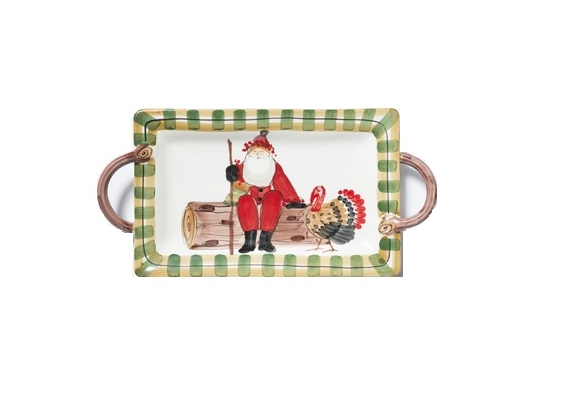 Vietri Old St. Nick Rectangular Platter W/ Turkey