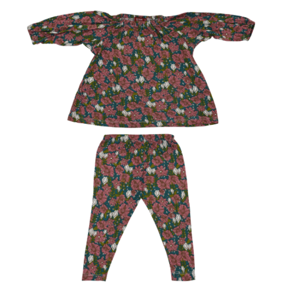 Milkbarn Bamboo Teal Floral Dress & Legging Set