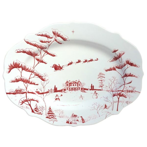 Juliska Country Estate Winter Frolic Ruby Oval Platter
