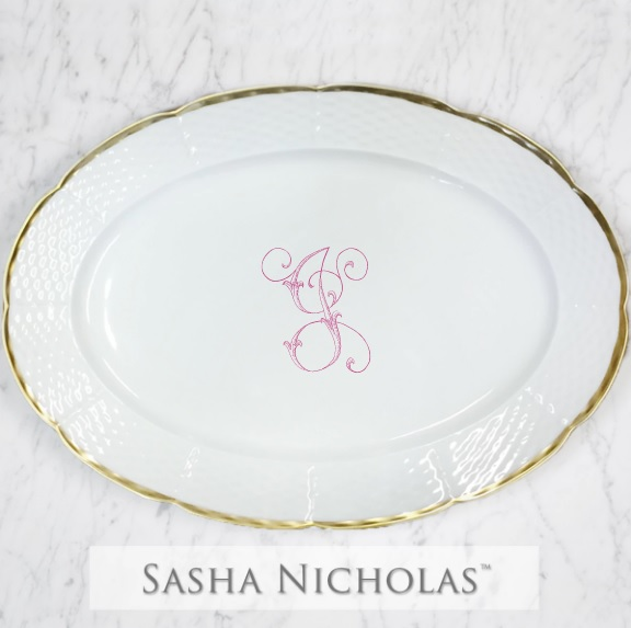 Sasha Nicholas Weave 24K Gold Oval Platter With Monogram