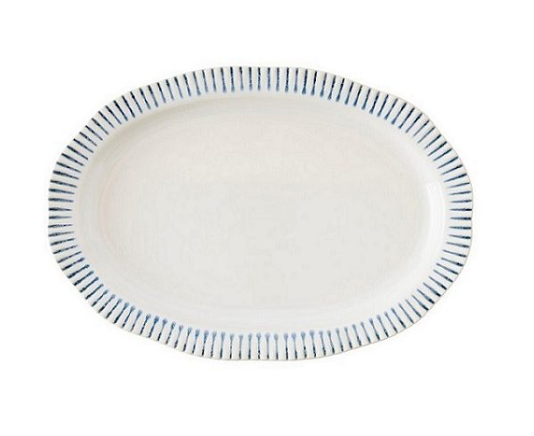 Juliska Sitio Stripe Indigo Oval Platter