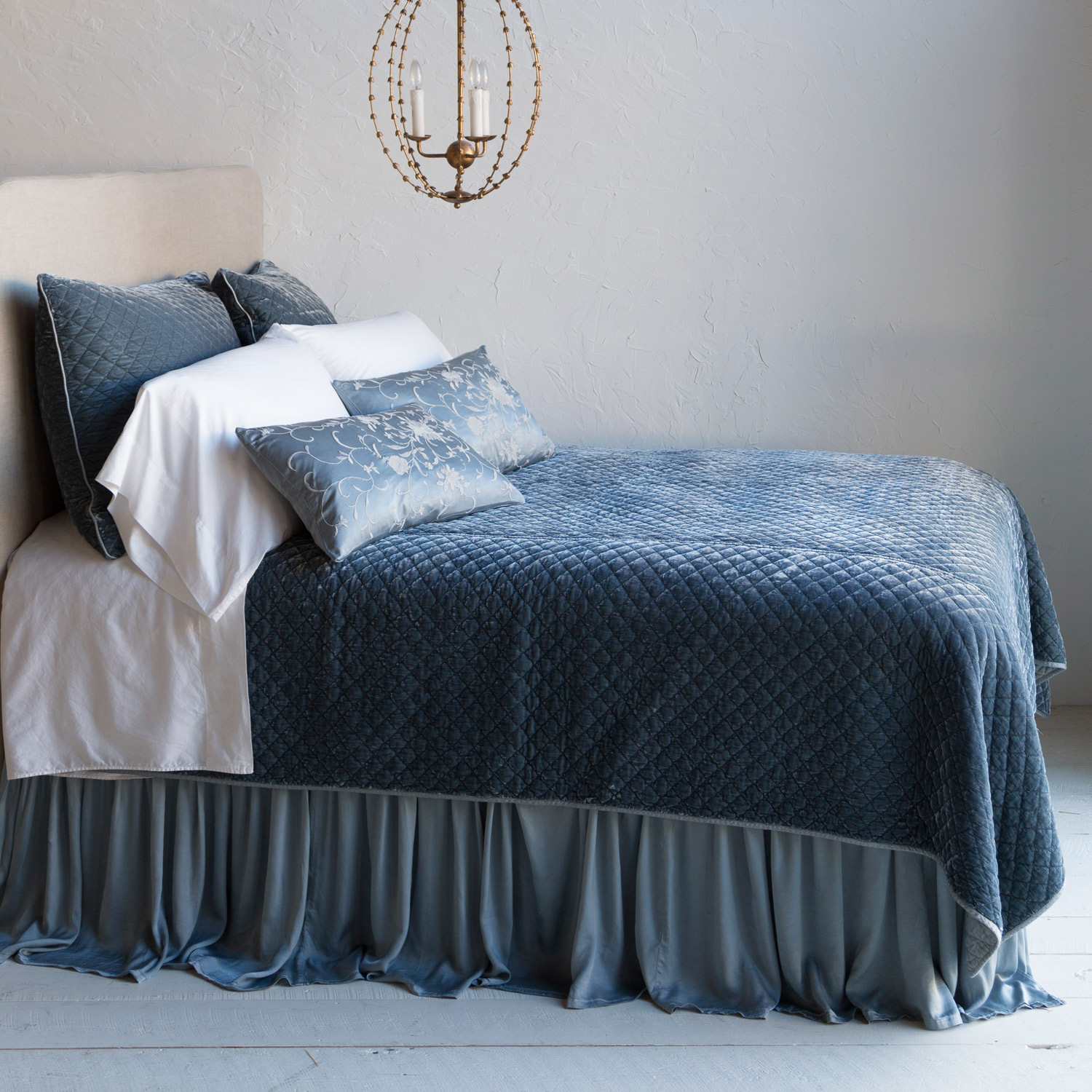 Exceptional Bella Notte Silk Velvet Quilted Coverlet