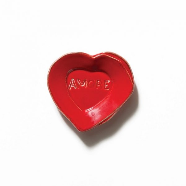 Vietri Lastra Red Heart Mini Amore Plate