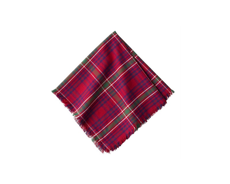 Juliska Red Tartan Christmas Napkin - Tulips