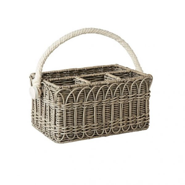 Juliska Waveney Wicker Grey Wash Utensil Caddy