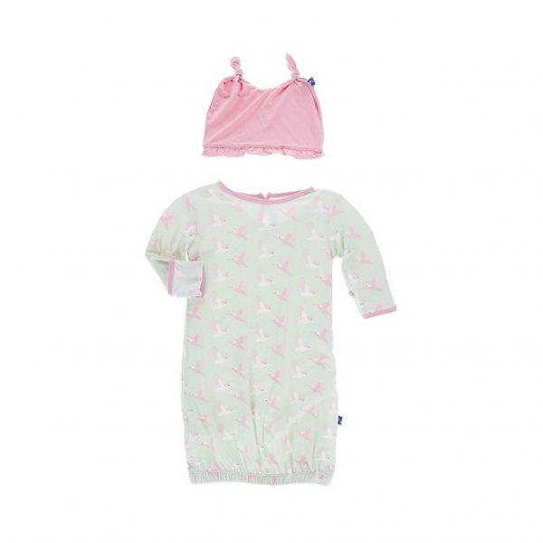 Kickee Pants Aloe Kingfisher Layette Gown Set