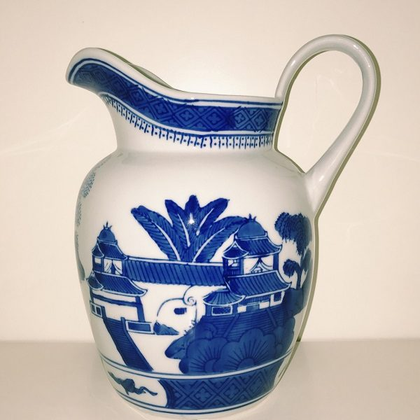 Blue & White Canton 9″ Pitcher