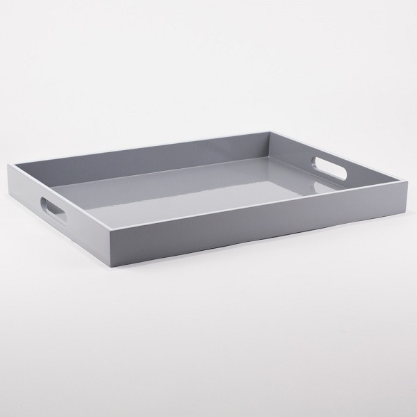 Gray & White Carrington Handled Tray
