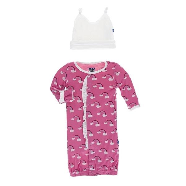 Kickee Pants Flamingo Rainbow Layette Converter Gown Set