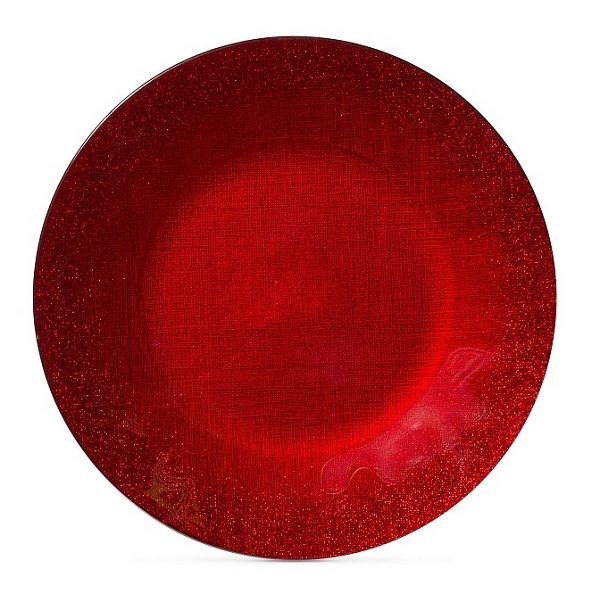 Vietri Red Glitter Glass Charger