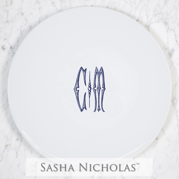 Sasha Nicholas Simply White Cake Stand With Monogram