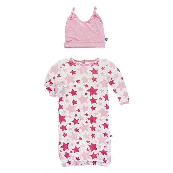 Kickee Pants Flamingo Star Layette Gown Set