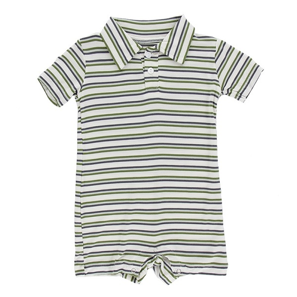 Kickee Pants Boy Freshwater Stripe Polo Romper