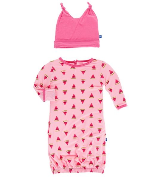 Kickee Pants Lotus Watermelon Layette Gown Set