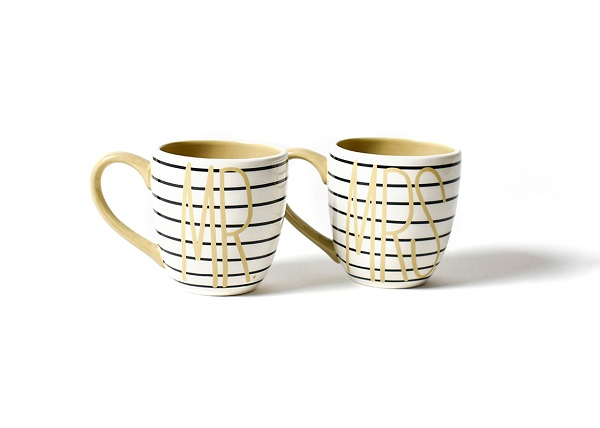 Coton Colors Mr. & Mrs. Black Stripe Mug Set