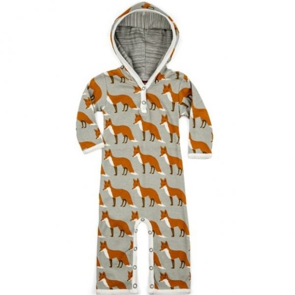 Milkbarn Orange Fox Hooded Romper
