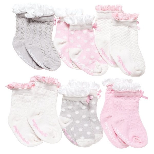 Elegant Baby Peek-A-Boo Girls Sock Set