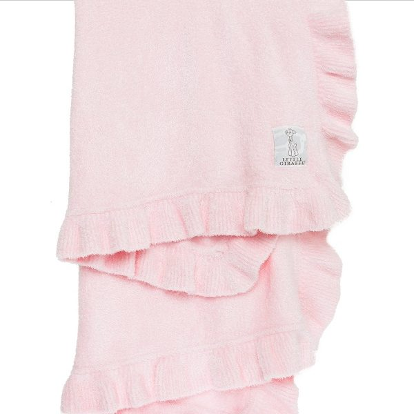 Little Giraffe Pink Dolce Ruffle Blanket