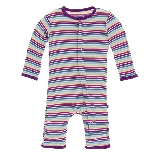 Kickee Pants Girl Perth Stripe Snap Coverall