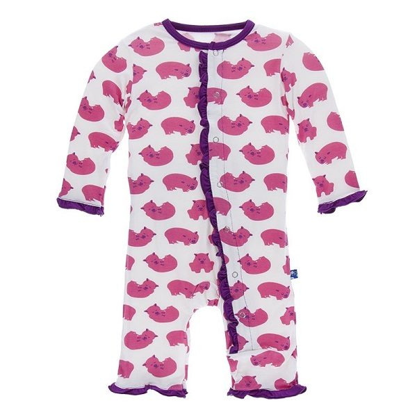 Kickee Pants Natural Wombat Ruffle Snap Coverall