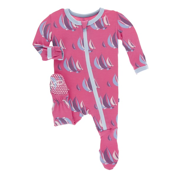 Kickee Pants Flamingo Sailing Zipper Footie