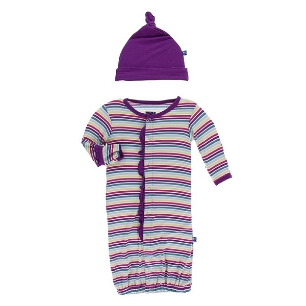 Kickee Pants Girl Perth Stripe Layette Gown Converter Set
