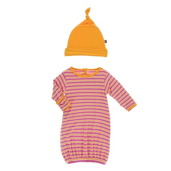 Kickee Pants Flamingo Brazil Stripe Layette Gown Set