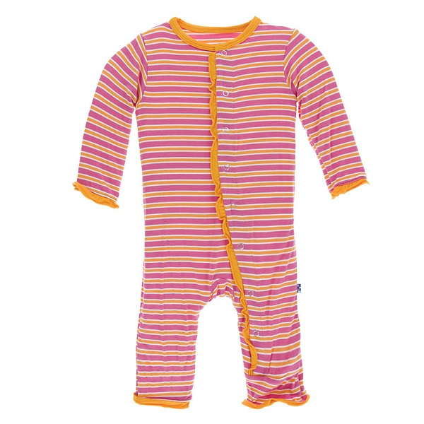 Kickee Pants Flamingo Brazil Stripe Ruffle Snap Coverall