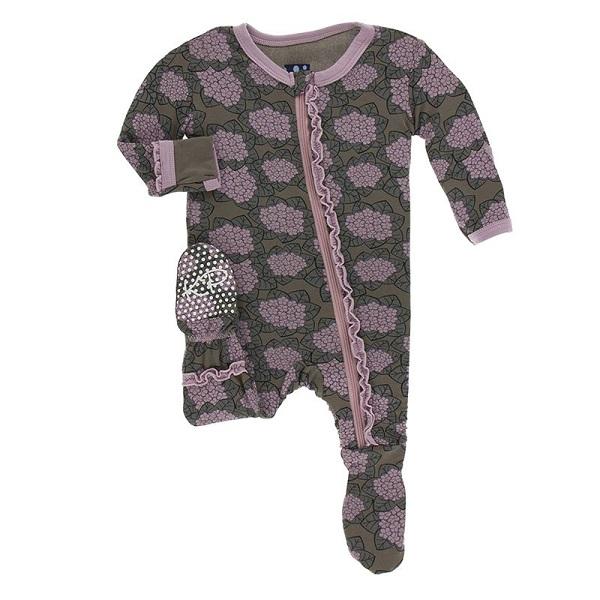 Kickee Pants African Violets Zipper Ruffle Footie