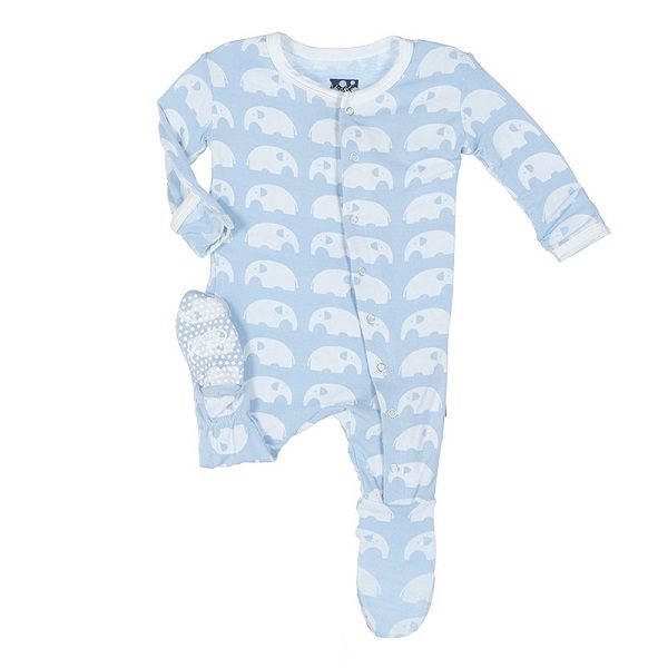 Kickee Pants Pond Elephant Snap Footie