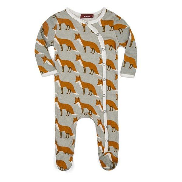 Milkbarn Orange Fox Footed Romper