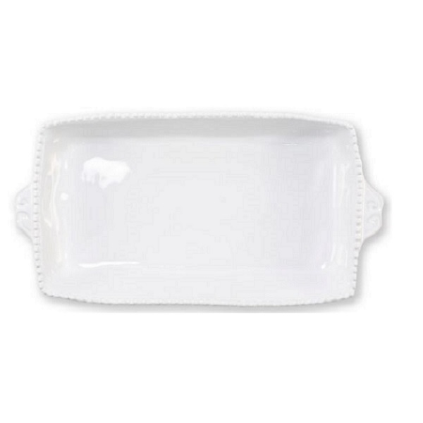 Vietri Incanto Stone White Stripe Rectangular Baking Dish