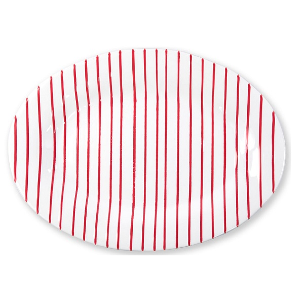 Vietri Stripe Red Oval Platter