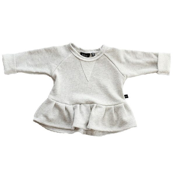 Peplum Crew 'Heather Gray'