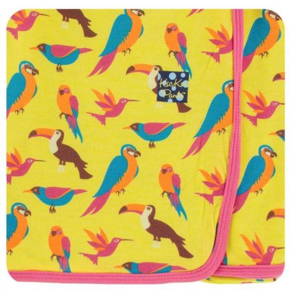 Kickee Pants Banana Tropical Birds Swaddle Blanket