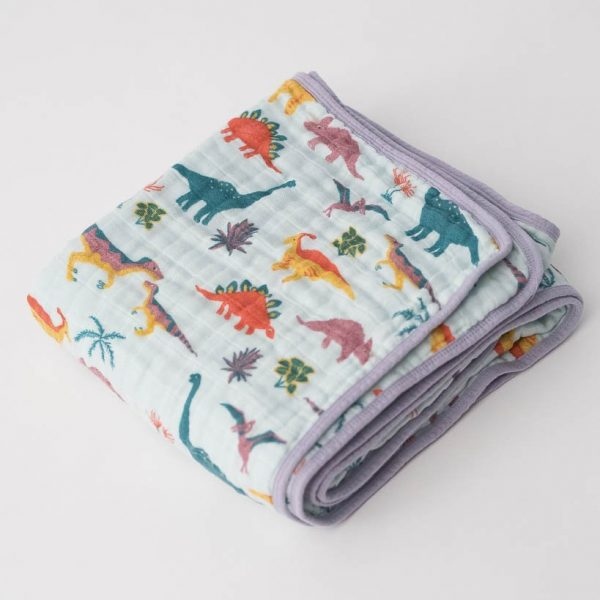 LU + JURASSIC WORLD COTTON MUSLIN QUILT – EMBROIDOSAURUS