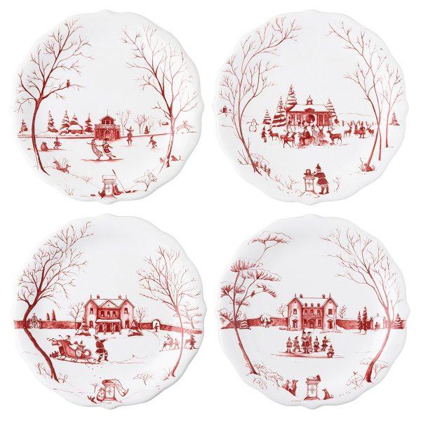 "Juliska Country Estate Winter Frolic ""Mr. & Mrs. Claus"" Ruby Party Plates Set/4"