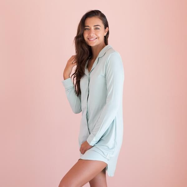 Faceplant Aqua Button Down Boyfriend Nightshirt